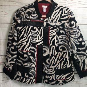 Chico's Zebra Print Jacket Black White Red Size 3